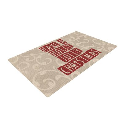Sylvia Cook Have a Holly Jolly Christmas Holiday Brown/Red Area Rug