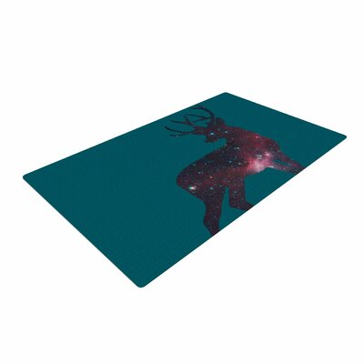 Alias Deer in the Starlight Teal/Pink Area Rug Rug Size: 2 x 3