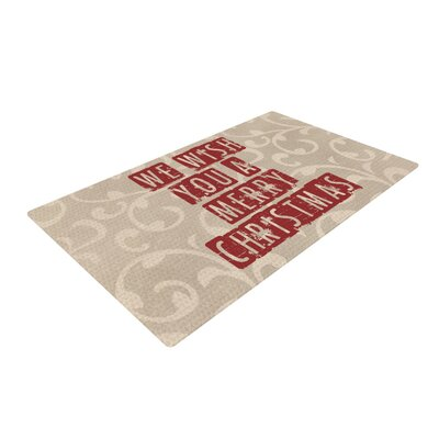 Sylvia Cook We Wish You a Merry Christmas Holiday Red/Beige Area Rug