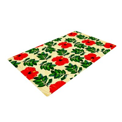 Sreetama Ray No More Peonies Red/Green Area Rug