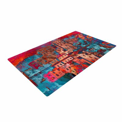 Suzanne Carter Marbled Skyline Red/Blue Area Rug Rug Size: 2 x 3