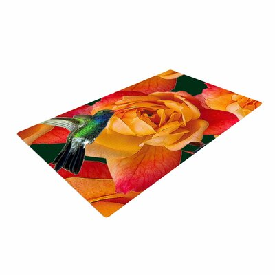 Shirlei Patricia Muniz Roses in Hummingbird Orange/Nature Area Rug Rug Size: 4 x 6