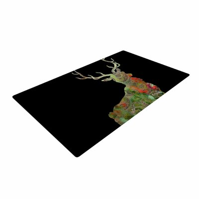 Suzanne Carter Paisley Deer Abstract Black Area Rug