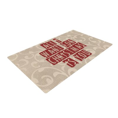Sylvia Cook All I Want For Christmas Holiday Tan/Red Area Rug