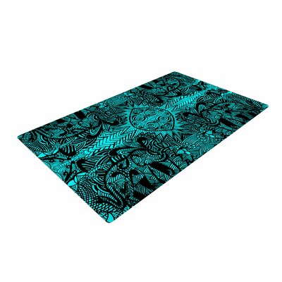 Shirlei Patricia Muniz The Elephant Walk Ethnic Teal Area Rug Rug Size: 2 x 3