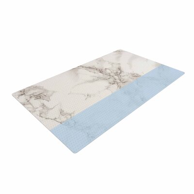 Suzanne Carter Marble and Blue Block Modern Gray Area Rug