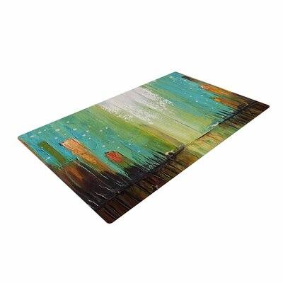 Steven Dix Twilight Imaginings Teal/Copper Area Rug Rug Size: 2 x 3