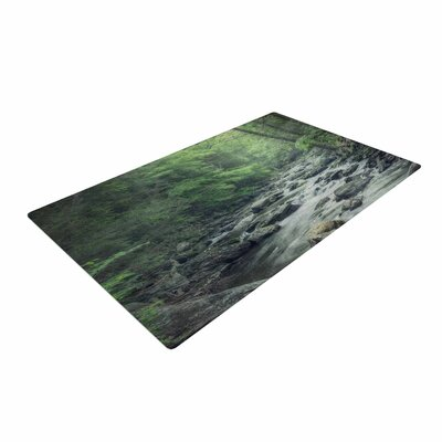 Suzanne Harford Misty Forest Stream Photography Nature Area Rug