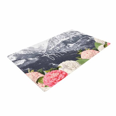 Suzanne Carter Breathe Floral Landscape Gray/Pink/White Area Rug