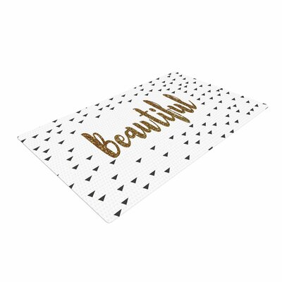 Suzanne Carter Beautiful Typography Gold Area Rug