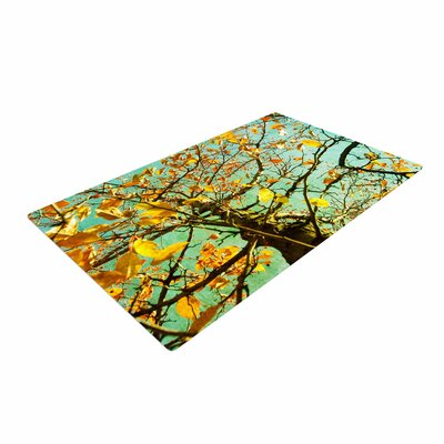 Sylvia Coomes Autumn Tree Teal/Yellow Area Rug Rug Size: 2 x 3