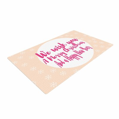 Suzanne Carter Merry Chistmas and Happy New Year Peach Pink Area Rug