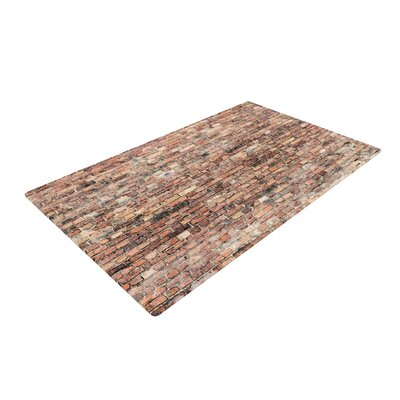 Susan Sanders Rustic Bricks Orange/Brown Area Rug Rug Size: 4 x 6
