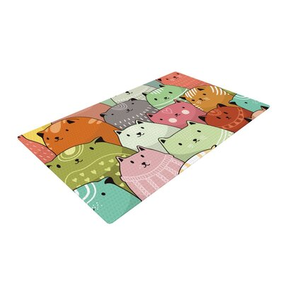 Snap Studio Kitty Attack Cat Illustration Green/Pink Area Rug Rug Size: 2 x 3
