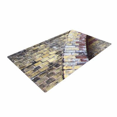 Susan Sanders Painted Grunge Brick Wall Gray/Yellow Area Rug
