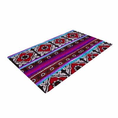 S Seema Z Sindhi Ajrak Pattern Purple Area Rug