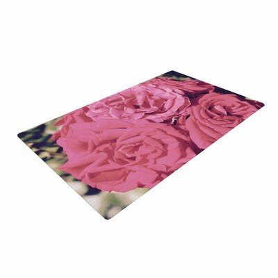 Susan Sanders Blush Blooming Roses Floral Photography Pink Area Rug