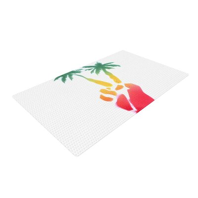 Infinite Spray Art Peace Palms Palm Tree Pink/White Area Rug Rug Size: 4 x 6