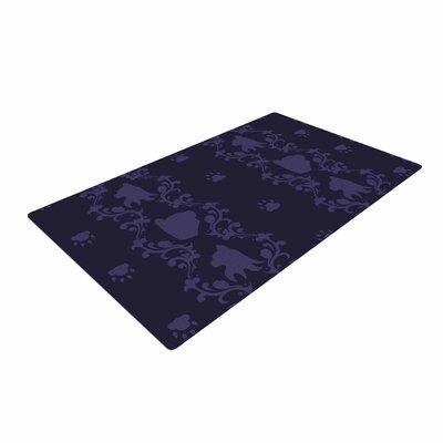 Stephanie Vaeth Cat Damask Pattern Purple Area Rug
