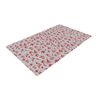 Snap Studio Miniature Christmas Gray/Red Area Rug Rug Size: 2 x 3