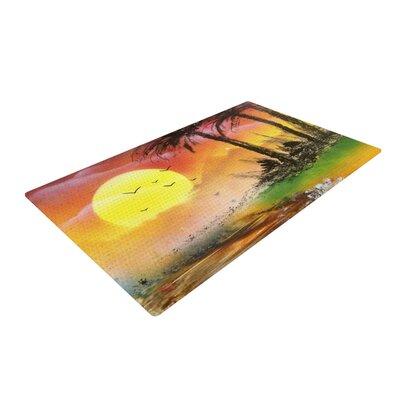 Infinite Spray Art Maui Sunrise Beach Yellow Area Rug