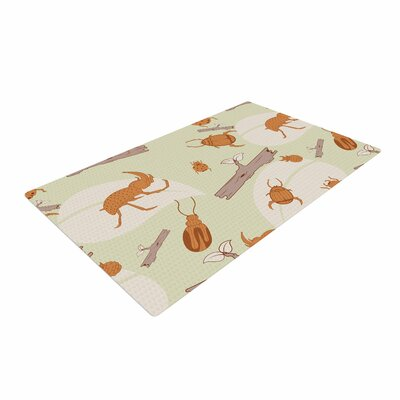 Stephanie Vaeth Beetles Orange/Nature Area Rug Rug Size: 2 x 3