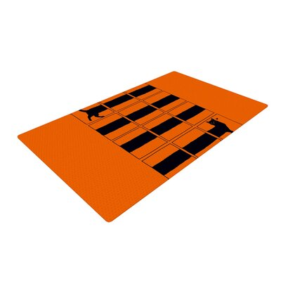 Tobe Fonseca the Long Cat is Long Orange/Black Area Rug Rug Size: 4 x 6