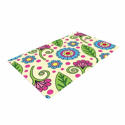 Sarah Oelerich Polka Dot Garden Floral Pattern Blue/Pink/Yellow Area Rug