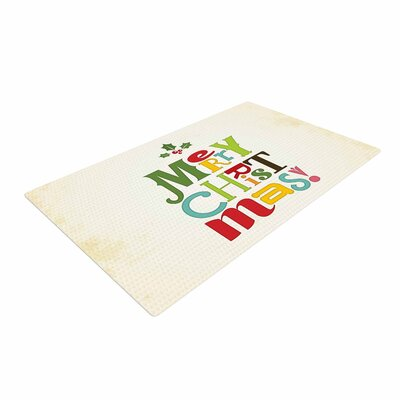 Noonday Design Merry Christmas Beige/Green Area Rug