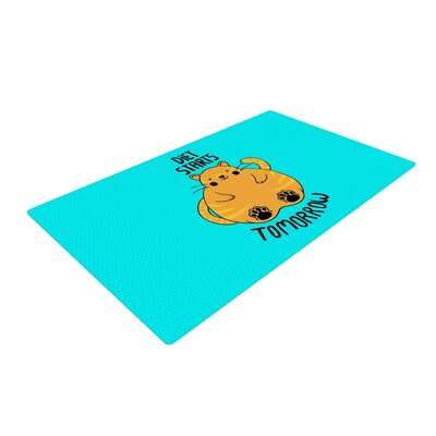 Tobe Fonseca Diet Starts Tomorrow Cat Blue Area Rug Rug Size: 4 x 6