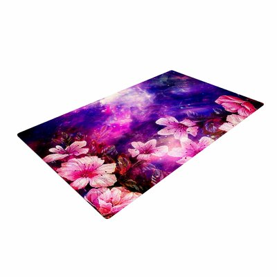 Shirlei Patricia Muniz Space Flowers Pink/Purple Area Rug Rug Size: 2 x 3