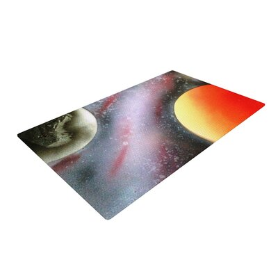 Infinite Spray Art Alignment Orange/Black Area Rug Rug Size: 2 x 3