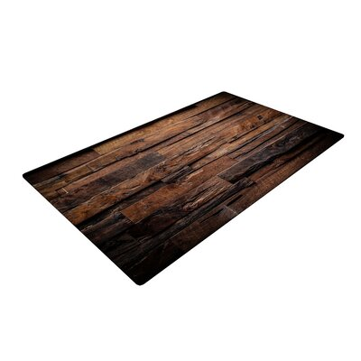 Susan Sanders Espresso Dreams Rustic Wood Brown Area Rug Rug Size: 4' x 6'