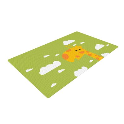 Strawberringo Baby Giraffe Green/Yellow Area Rug Rug Size: 2 x 3