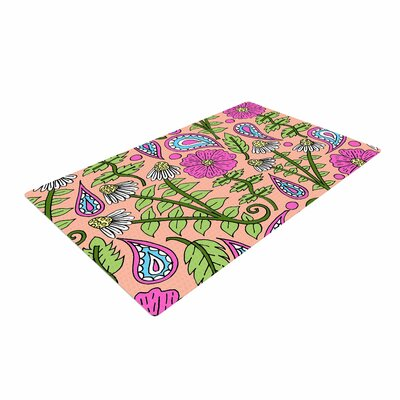 Sarah Oelerich Peach Floral Paisley Pink/Green Area Rug