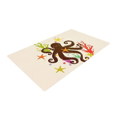 Strawberringo Friends Around the Sea Octopus Tan Area Rug Rug Size: 4 x 6