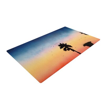 Infinite Spray Art Carlsbad Sunset Coastal Painting Blue/Yellow Area Rug Rug Size: 2 x 3