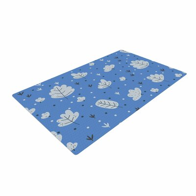 Strawberringo Autumn Leaves Blue/Nature Area Rug Rug Size: 2' x 3'