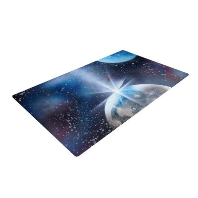 Infinite Spray Art Intergalactic Painting Blue Area Rug Rug Size: 4 x 6
