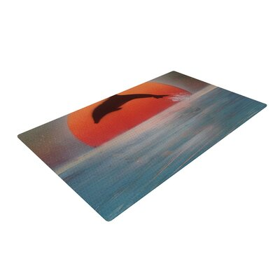 Infinite Spray Art Dolphin Sunset Blue/Gray Area Rug Rug Size: 2 x 3