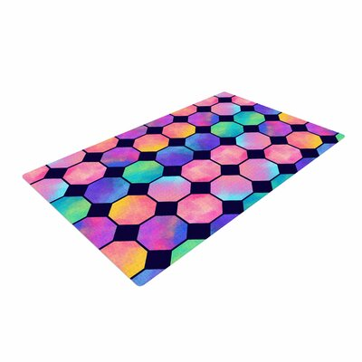 Noonday Design Colorful Watercolor Octagons Abstract Blue/Pink Area Rug