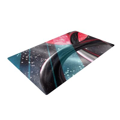 Infinite Spray Art Geometric Mars Black/Teal/Red Area Rug Rug Size: 2 x 3