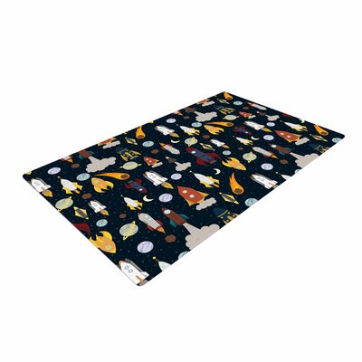 Stephanie Vaeth Rockets Celestial Pattern Black/Yellow Area Rug Rug Size: 2 x 3