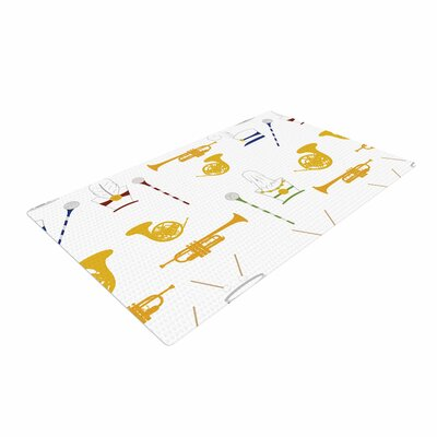 Stephanie Vaeth Marching Band Illustration Gold Area Rug