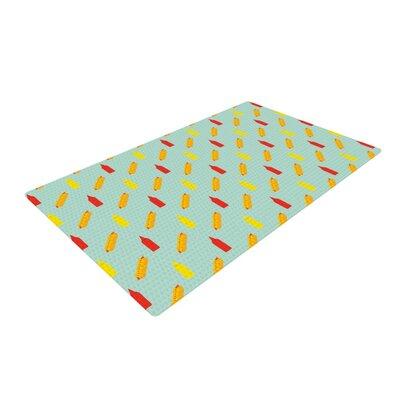 Will Wild Hot Dog Pattern II Food Green/Yellow/Red Area Rug