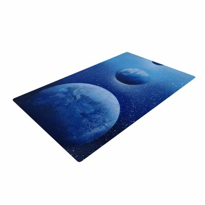 Infinite Spray Art Interplanetary Alignments Mixed Media Blue Area Rug Rug Size: 2 x 3