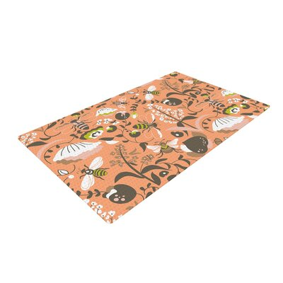 Very Sarie Hope for the Flowers I Coral/Brown Area Rug Rug Size: 2 x 3