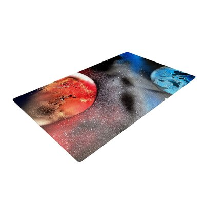 Infinite Spray Art Sun and Moon Planet Blue/Red Area Rug Rug Size: 2 x 3