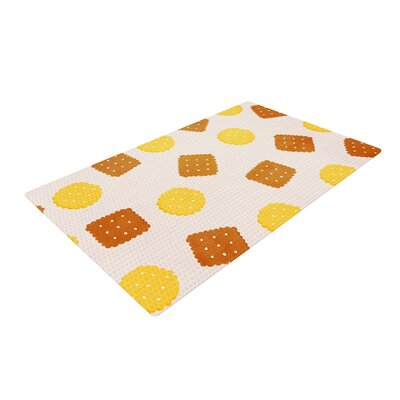 Strawberringo Do You Love Biscuits? Brown/Yellow Area Rug Rug Size: 4 x 6