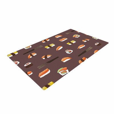 Strawberringo Sushi Pattern Orange/Brown Area Rug Rug Size: 2 x 3